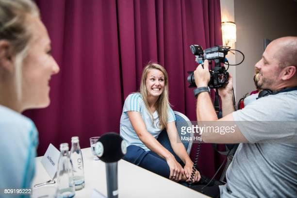 Lena Petermann smiles during Germany Women's National Soccer Team Media Day on July 5 2017 in Heidelberg Germany