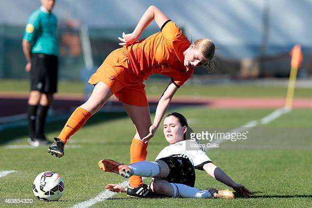 Lena Reiter of Germany competes with Jamie Altelaar of Netrherlands during the U16 Girls UEFA Development tournament match between Netherlands and...