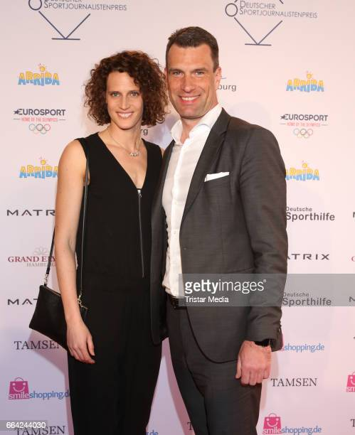 Lena Schoeneborn and Michael Illgner attend the German Sports Journalism Award 2017 at Grand Elysee Hotel on April 03 2017 in Hamburg Germany