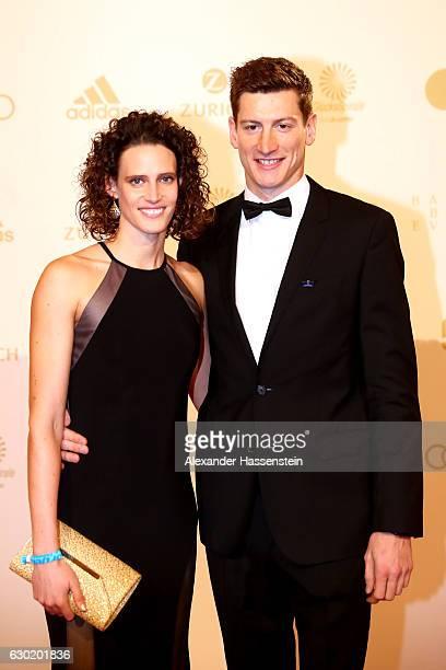 Lena Schoeneborn arrives with Martin Busse for the Sportler des Jahres 2016 gala at Kurhaus BadenBaden on December 18 2016 in BadenBaden Germany