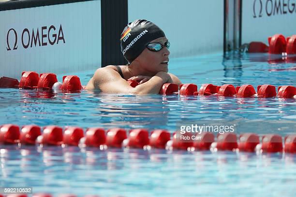Lena Schoeneborn of Germany looks on during the Women's Swimming Modern Pentathlon on Day 14 of the Rio 2016 Olympic Games at the Deodoro Aquatics...
