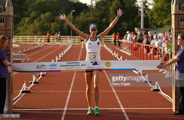 Lena Schoneborn of Germany celebrates winning the women's final round of the Modern Pentathlon European Championships at Medway Park on July 31 2011...