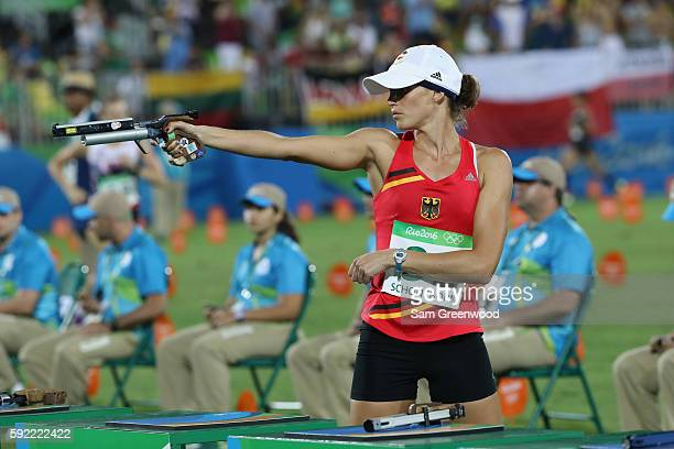 Lena Schoneborn of Germany competes during the Combined Running/Shooting during the Modern Pentathlon on Day 14 of the Rio 2016 Olympic Games at the...