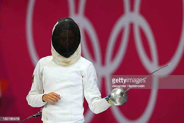 Lena Schoneborn of Germany competes during the fencing in the Women's Modern Pentathlon on Day 16 of the London 2012 Olympic Games on August 12 2012...