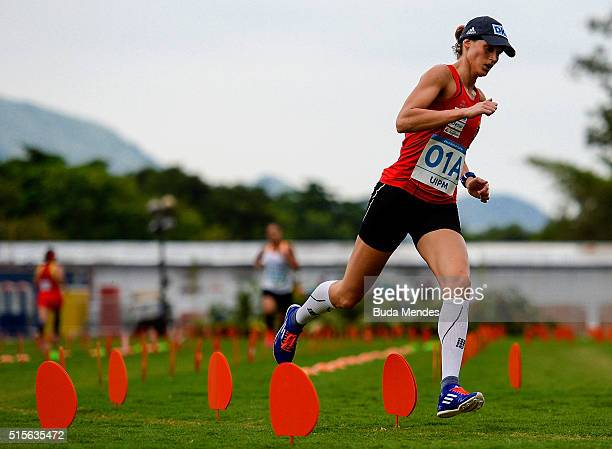 Lena Schoneborn of Germany competes in Combined during the Team Relay Mix Modern Pentathlon Tournament Aquece Rio Test Event for the Rio 2016...