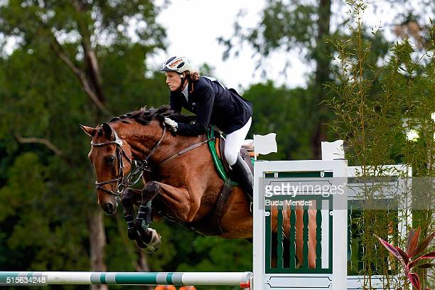 Lena Schoneborn of Germany competes in Riding during the Team Relay Mix Modern Pentathlon Tournament Aquece Rio Test Event for the Rio 2016 Olympics...