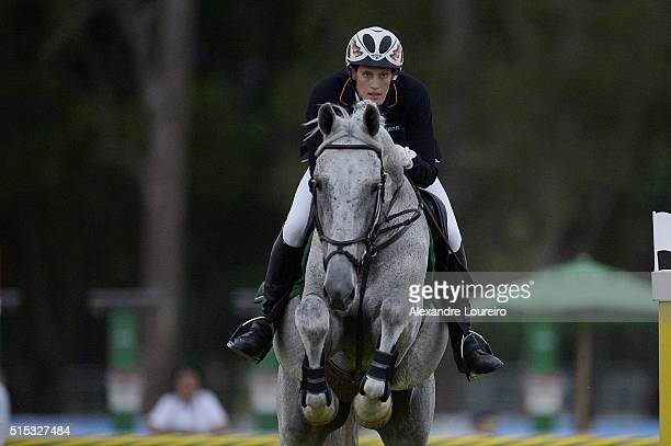 Lena Schoneborn of Germany competes in the Riding during the Women's Modern Pentathlon Tournament Aquece Rio Test Event for the Rio 2016 Olympics at...