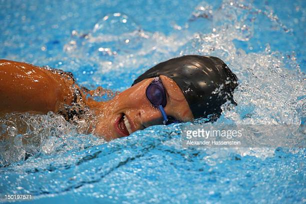 Lena Schoneborn of Germany competes in the Swimming 200m Freestyle during the Women's Modern Pentathlon on Day 16 of the London 2012 Olympic Games on...