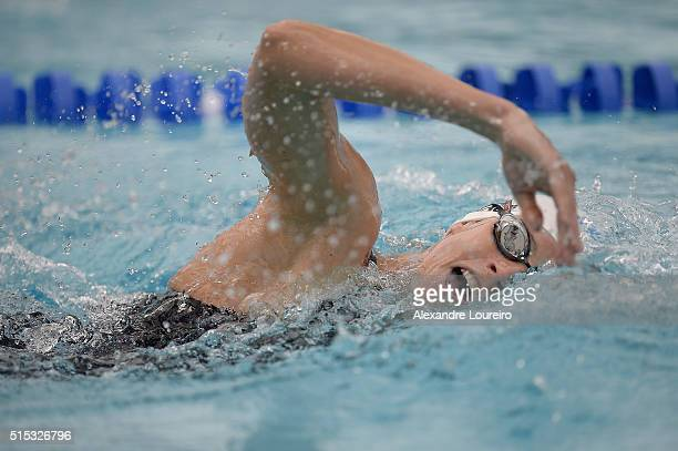 Lena Schoneborn of Germany competes in the Swimming 200m Freestyle during the Women's Modern Pentathlon Tournament Aquece Rio Test Event for the Rio...