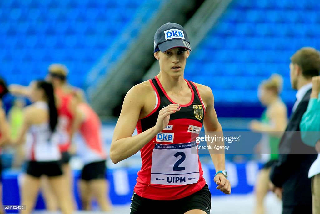 Lena Schoneborn of Germany is seen during the Combined of the Women Qualifications at the UIPM senior modern pentathlon world championships in Moscow, Russia, on May 25, 2016.
