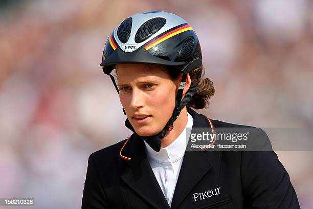 Lena Schoneborn of Germany riding Zidane competes during the Riding Show Jumping in the Women's Modern Pentathlon on Day 16 of the London 2012...