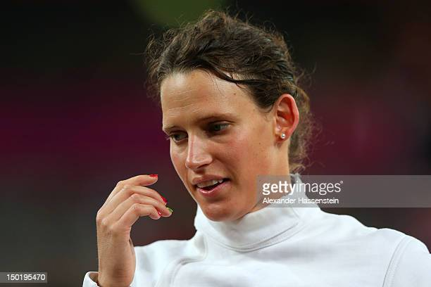 Lena Schoneborn of Germany watches on during the fencing in the Women's Modern Pentathlon on Day 16 of the London 2012 Olympic Games on August 12...
