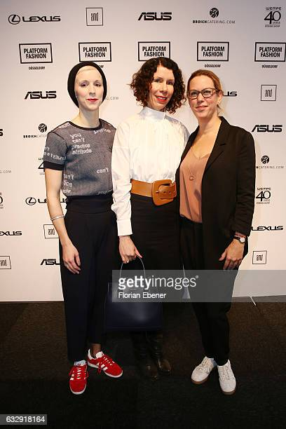 Lena Sophie Anders Ilona Marx and Michelle Kronmerks attend the AMDFashionshow Exit17 show during Platform Fashion January 2017 at Areal Boehler on...