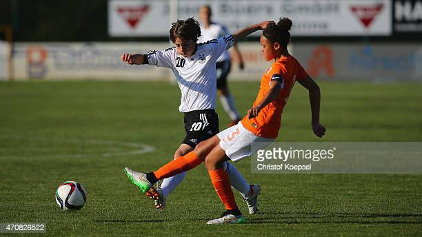 Lena Sophie Oberdorf of Germany challenges Licia Darnoud of Netherlands during the U15 girl's international friendly match between Germany and...