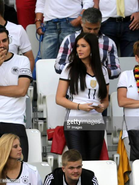 Lena Terlau girlfriend of Julian Draxler of Germany looks on during the UEFA EURO 2016 quarter final match between Germany and Italy at Stade Matmut...