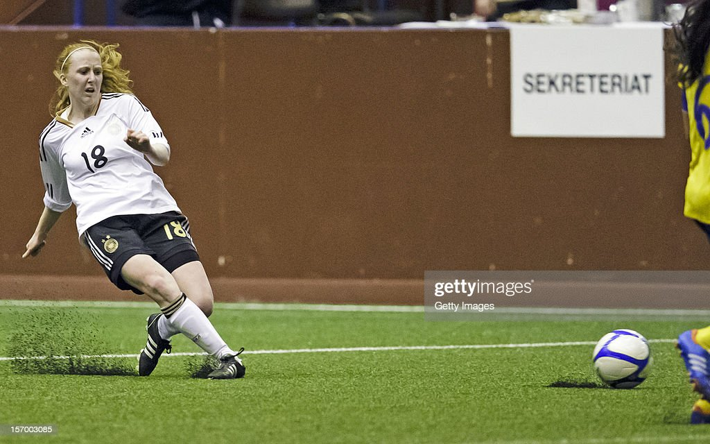 Lena Weiss of Germany passes the ball during the Under 19 Women's international friendly between Sweden and Germany at Tipshallen Stadium on November 21, 2012 in Vaxjo, Sweden.