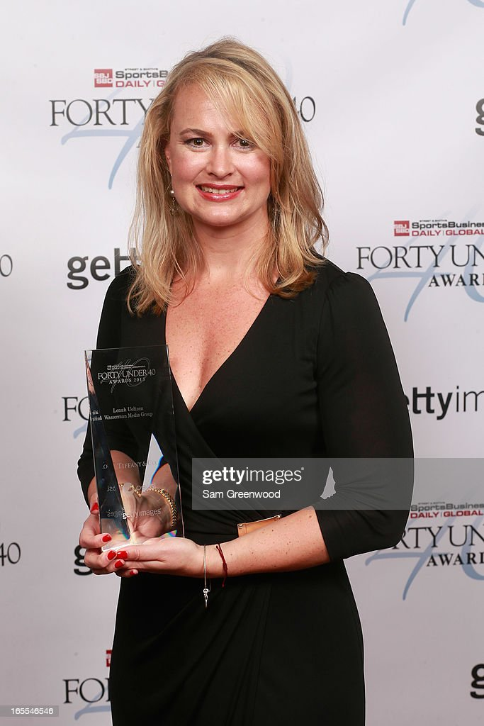 Lenah Ueltzen of Wasserman Media Group poses with award at the 2013 Forty Under 40 Awards on April 4, 2013 in Naples, Florida.