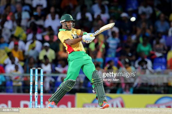 Lendl Simmons attacks the bowling during a Semifinal match between Jamaica Tallawahs and Guyana Amazon Warriors as part of the Limacol Caribbean...