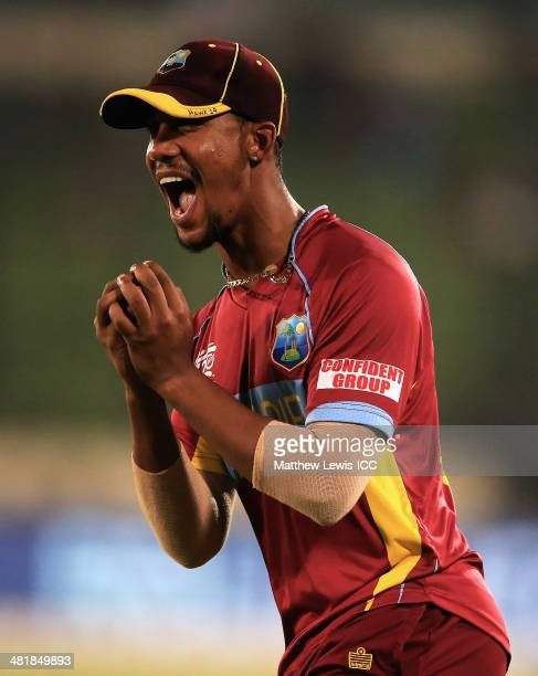 Lendll Simmons of the West Indies catches Umar Gul of Pakistan during the ICC World Twenty20 Bangladesh 2014 match between West Indies and Pakistan...