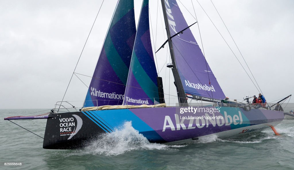 Lendy Cowes Week Sailing Triple Crown Ocean Racers Round The Island Race Team Akzonobel NL (Simeon Tienpoint skipper) on August 2, 2017 in Cowes, England.