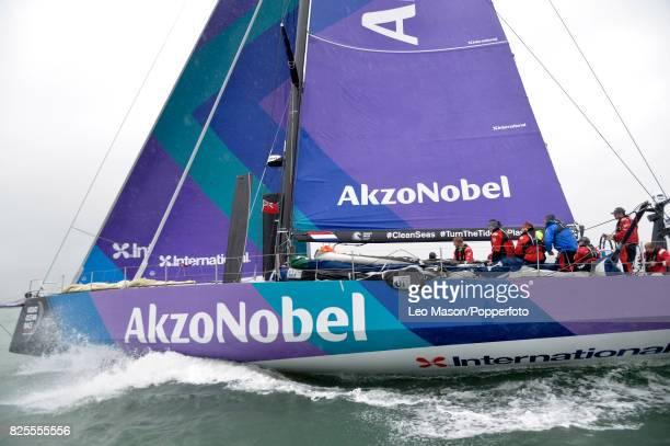 Lendy Cowes Week Sailing Triple Crown Ocean Racers Round The Island Race Team Akzonobel NL on August 2 2017 in Cowes England