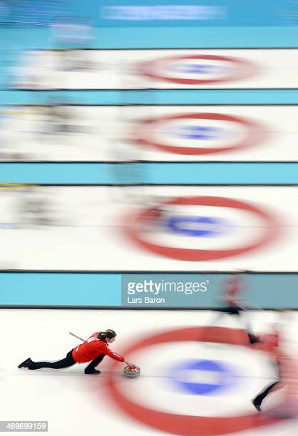 Lene Nielsen of Denmark in action during Curling Women's Round Robin match between Denmark and Republic of Korea on day nine of the Sochi 2014 Winter...