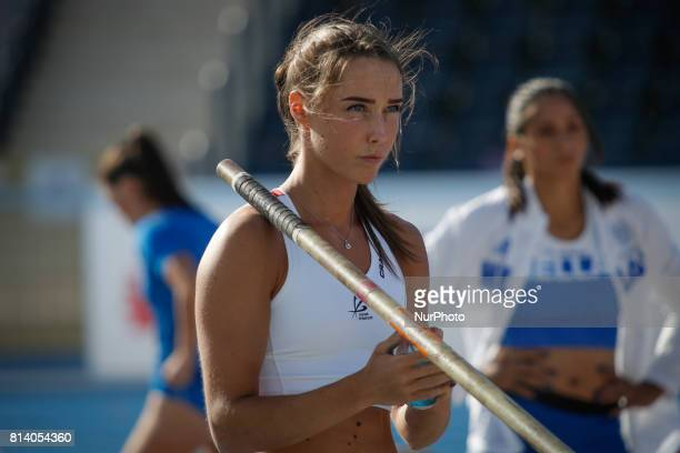 Lene Retzius from Norway competes in women's pole vault qualification round during the IAAF World U20 Championships at the Zawisza Stadium on July 19...