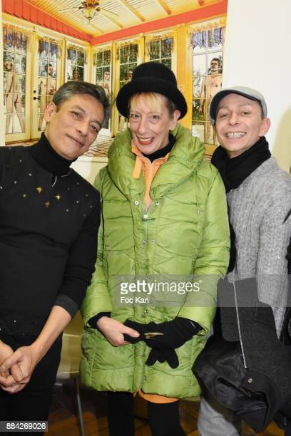 Lenedy Angot Ouamee Schlumberger and Lola Mercier attend Lenedy Angot Calendar 2018 launch at Galerie Fabrice Hybert on December 1 2017 in Paris...