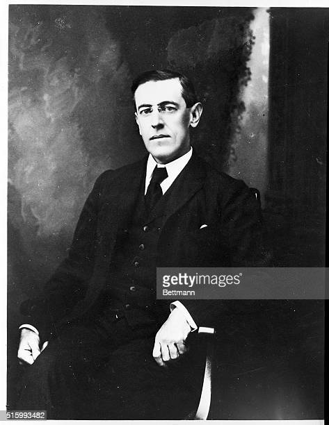 A 3/4 length portrait of Thomas Woodrow Wilson taken while he was President of Princeton University He later served as the 28th President of the...