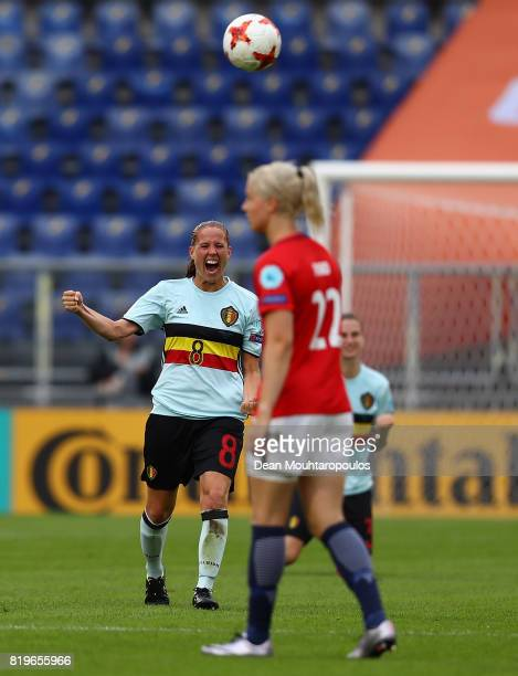 Lenie Onzia of Belgium celebrates at the final whistle during the UEFA Women's Euro 2017 Group A match between Norway and Belgium at Rat Verlegh...