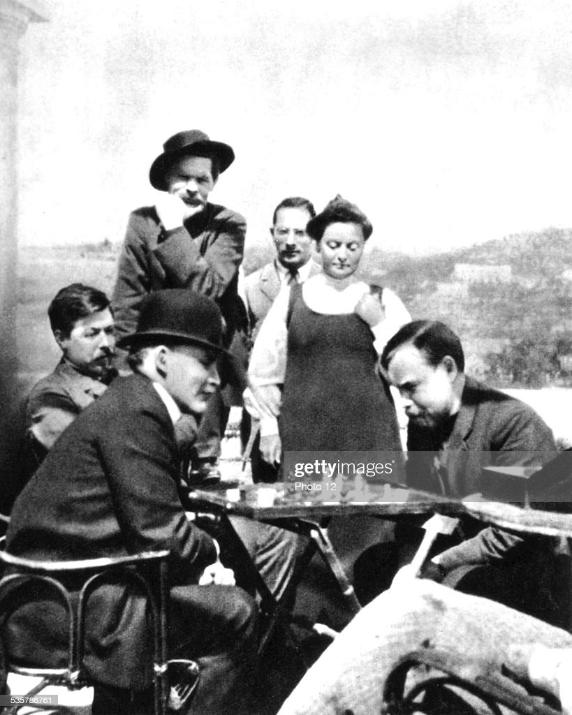 Lenin, a guest of Maxime Gorki in Capri, playing chess with A. Bogdanov, 1908, Italy.