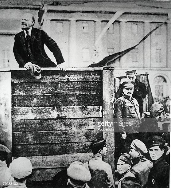 Lenin addressing a meeting in Moscow Russia The figure on the far right in semiuniform is Trotsky