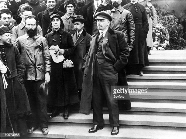 Lenin in moscow's red square attending the may day demonstration in 1919