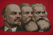 Lenin, Marx, Engels Banner in Moscow's Red Square