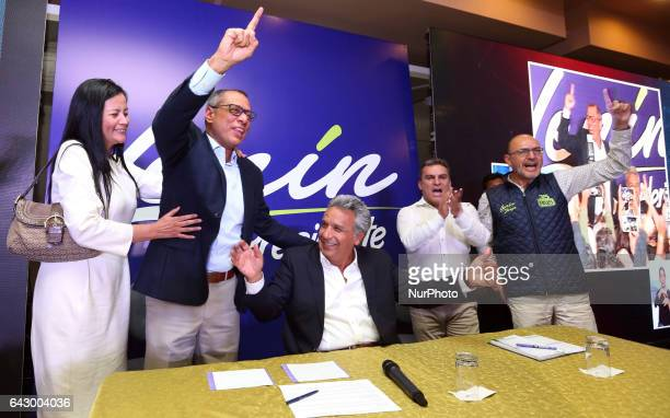 Lenin Moreno candidate of 'Alianza País' celebrates the victory in the first round of elections in Ecuador in Quito Sunday February 19 2017According...