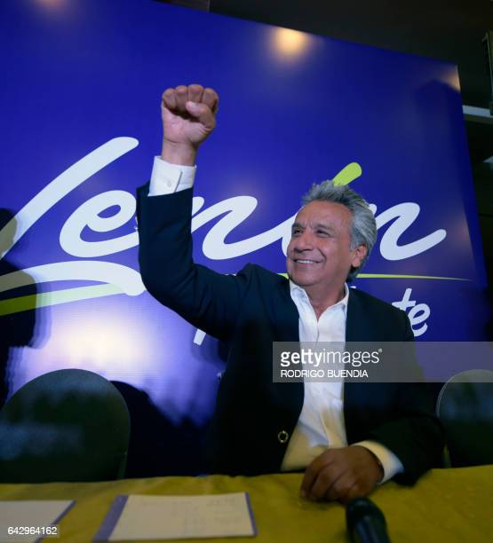 Lenin Moreno the presidential candidate of the governing Alianza PAIS party celebrates at a hotel in Quito after the exit polls indicate that the...