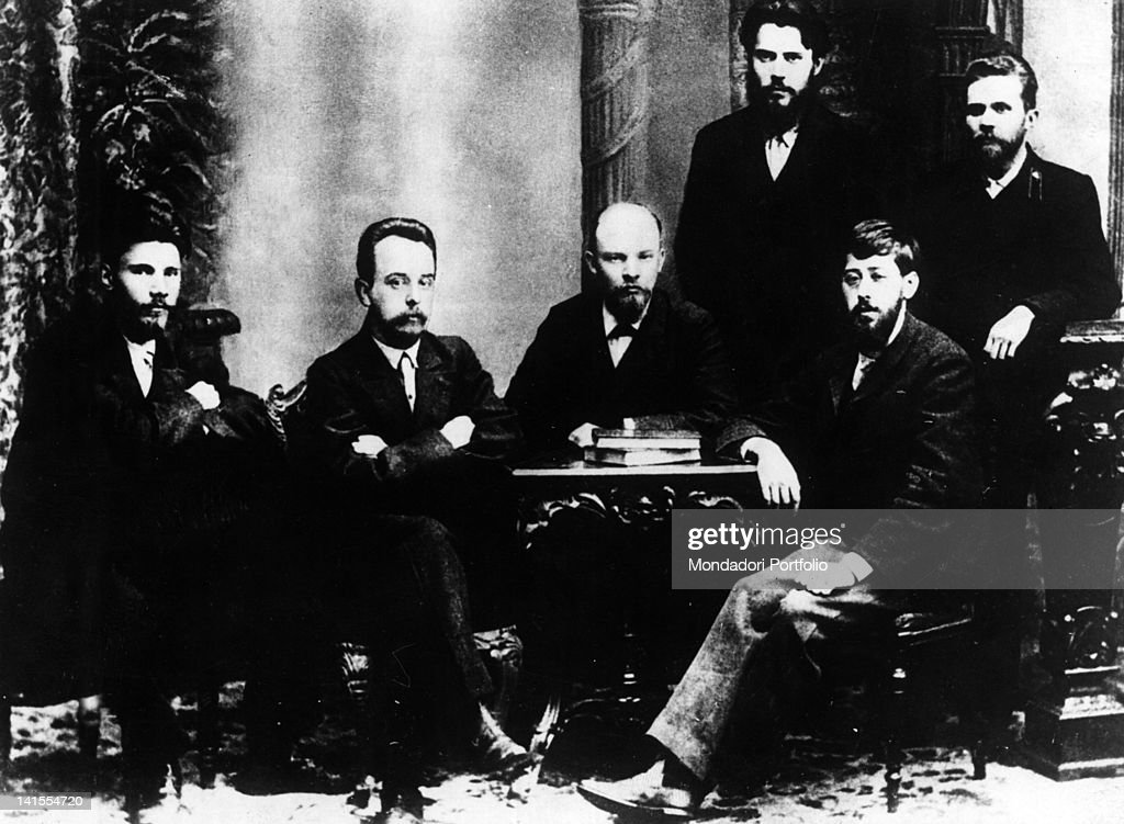 Lenin posing with the leaders of the Union for the Struggle for the Liberation of the Working Class of Saint Petersburg Vasily Starkov, Gleb Krzhizhanovsky, Julius Martov, Petr Kuzmich Zaporozhets, Anatoy Vaneev. Saint Petersburg, February 1897