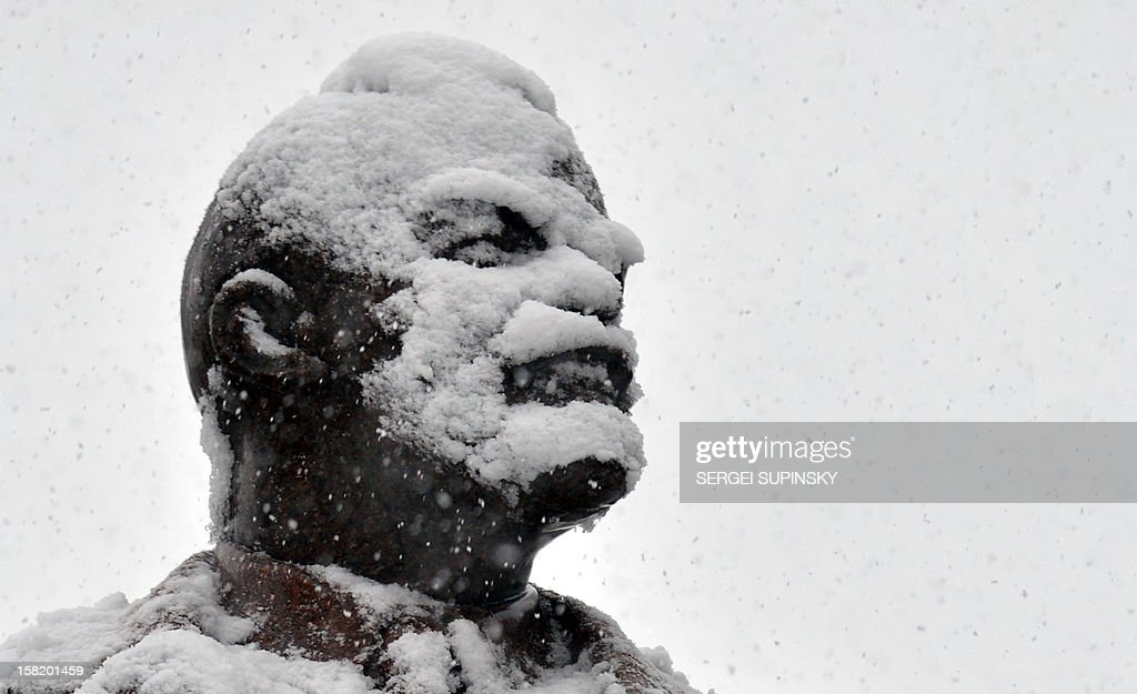 Lenin's statue is covered with snow during heavy snowfall over Kiev, on December 11, 2012. AFP PHOTO/ SERGEI SUPINSKY