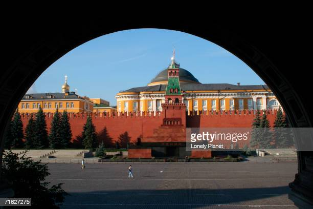 Lenin's Tomb framed by arch, from GUM department store, Moscow, Russia