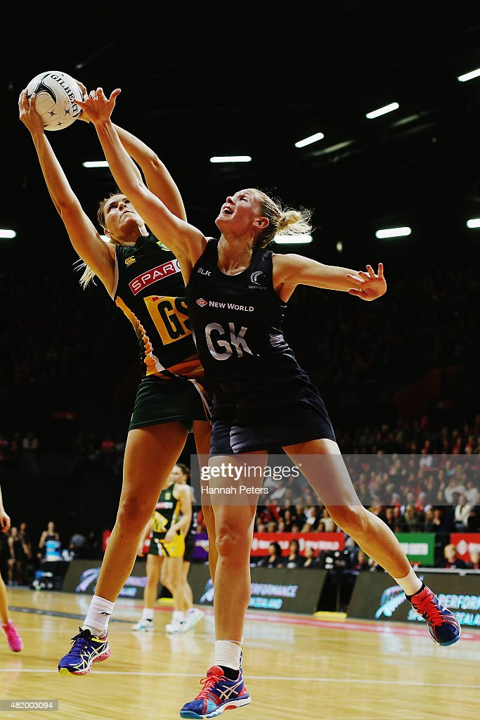 Lenize Potgieter of South Africa competes with Casey Kopua of the Silver Ferns during the international Test match between the New Zealand Silver...