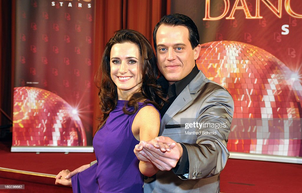 Lenka Pohoralek and Gregor Glanz are presented as dance partners at a press conference during the eighth season of TV show 'ORF Dancing Stars 2013' on January 28, 2013 in Vienna, Austria.