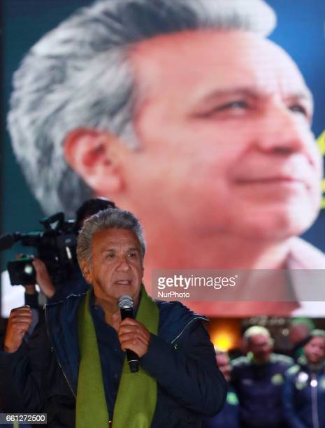 Lenín Moreno presidential candidate for the AP political party during the closing of the campaign before the presidential elections in Quito Ecuador...