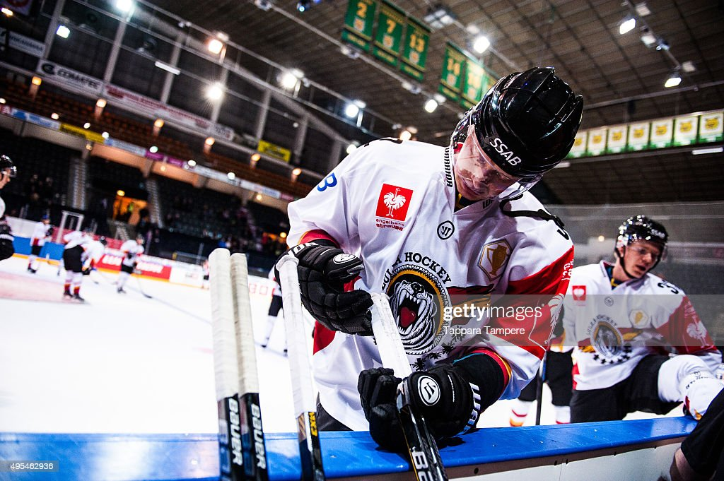 Lennart Petrell of Lulea Hockey choosing sticks during the warm ups of the Champions Hockey League round of eight game between Tappara Tampere and...