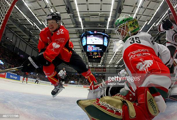 Lennart Petrell of Lulea slides into the net during the Champions Hockey League final match at Coop Norrbotten Arena on February 3 2015 in Lulea...