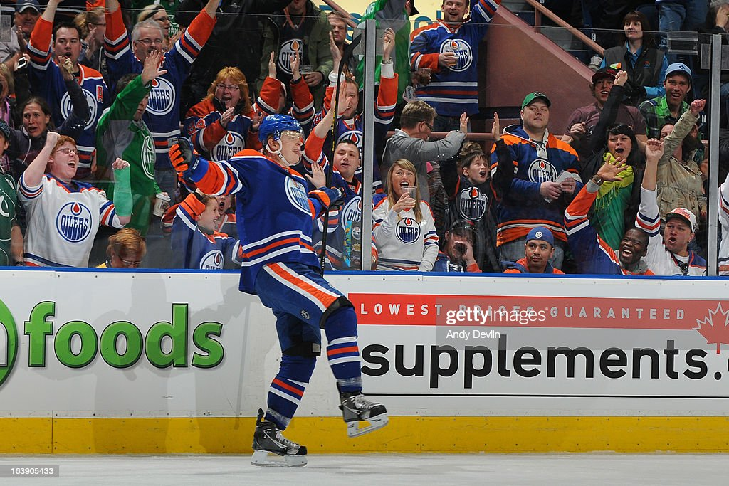 Lennart Petrell #37 of the Edmonton Oilers celebrates after scoring a goal in a game against the Nashville Predators on March 17, 2013 at Rexall Place in Edmonton, Alberta, Canada.