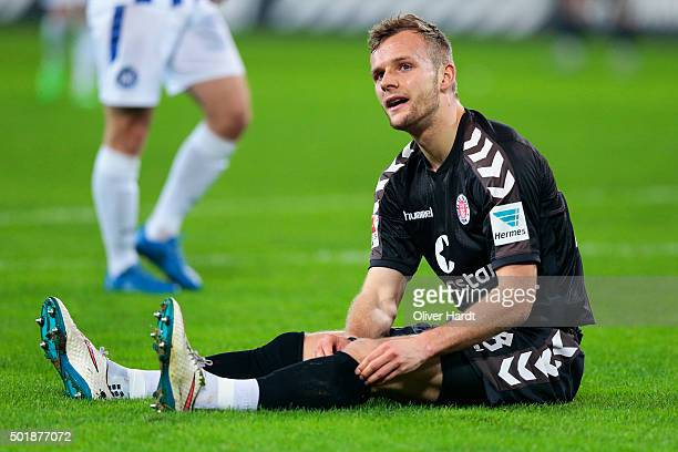 Lennart Thy of Pauli appears frustrated during the Second Bundesliga match between FC St Pauli and Karlsruher SC at Millerntor Stadium on December 18...