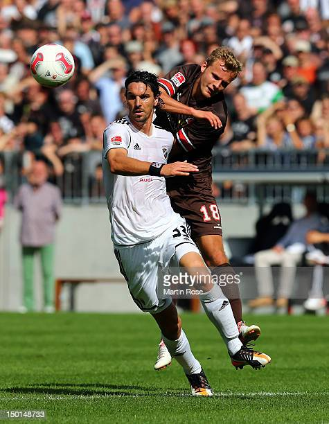 Lennart Thy of St Pauli and Marino Biliskov of Ingolstadt battle for the ball during the Second Bundesliga match between St Pauli and FC Ingolstadt...