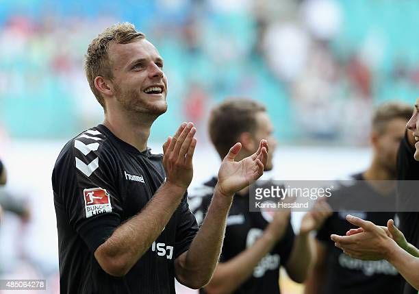 Lennart Thy of St Pauli looks happy after the Second League match between RB Leipzig and FC StPauli at RedBull Arena on August 23 2015 in Leipzig...