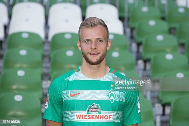 Lennart Thy poses during the offical team presentation of Werder Bremen on July 20 2016 in Bremen Germany
