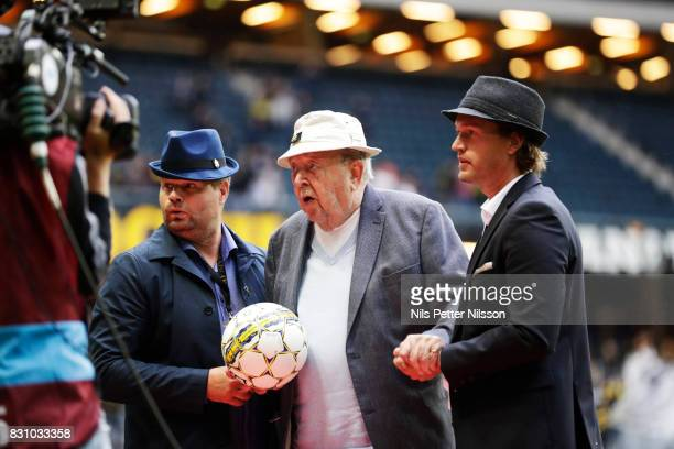 Lennnart Johansson former president of UEFA delivers the match ball during the Allsvenskan match between AIK and Athletic FC Eskilstura at Friends...